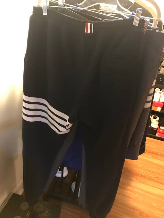 Thom Browne Navy Classic Four Bar Lounge Pants 181381F086002 Size US 35