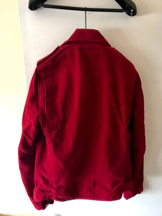 Balmain Red Velvet Biker Jacket Brand New With Tags Size US L / EU 52-54 / 3 - 1