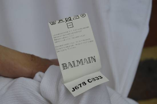 Balmain White Ribbed Long Sleeve T-shirt Size US M / EU 48-50 / 2 - 5