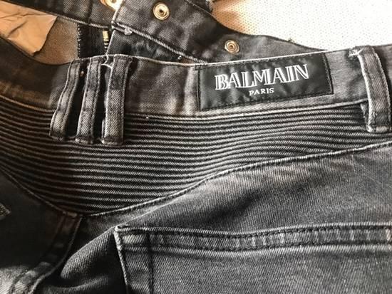 Balmain Balmain Black Distressed Knee Ripped Biker Jeans Size US 30 / EU 46 - 2