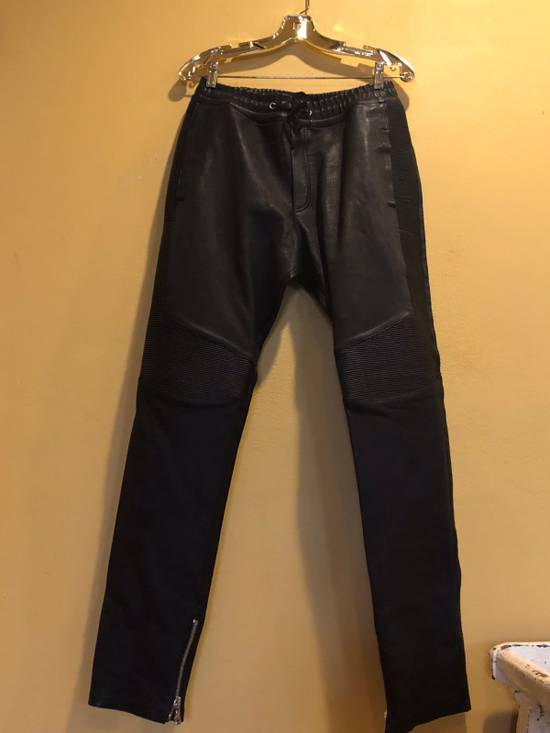 Balmain Slim Fit Biker Style Leather Sweatpants Size US 34 / EU 50 - 1