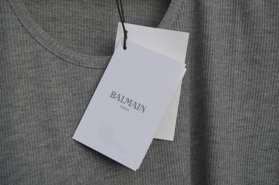 Balmain Grey Ribbed Knit T-shirt Size US M / EU 48-50 / 2 - 3