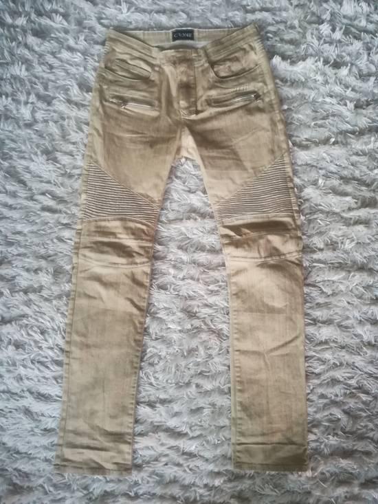 Balmain NOT Balmain Slim Fit Tan Biker Jeans Size US 32 / EU 48 - 1
