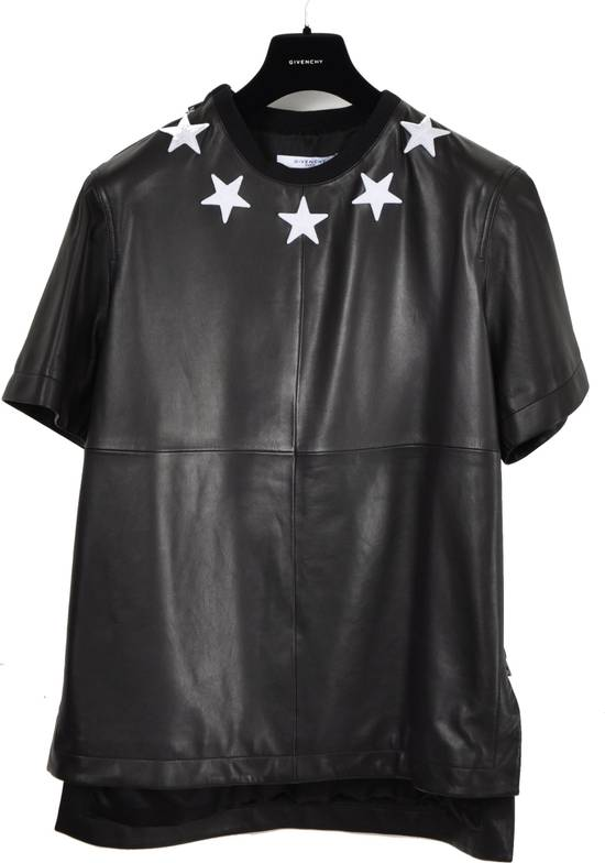 Givenchy 2500$ Black Leather Star Embroidered T-shirt Size US L / EU 52-54 / 3