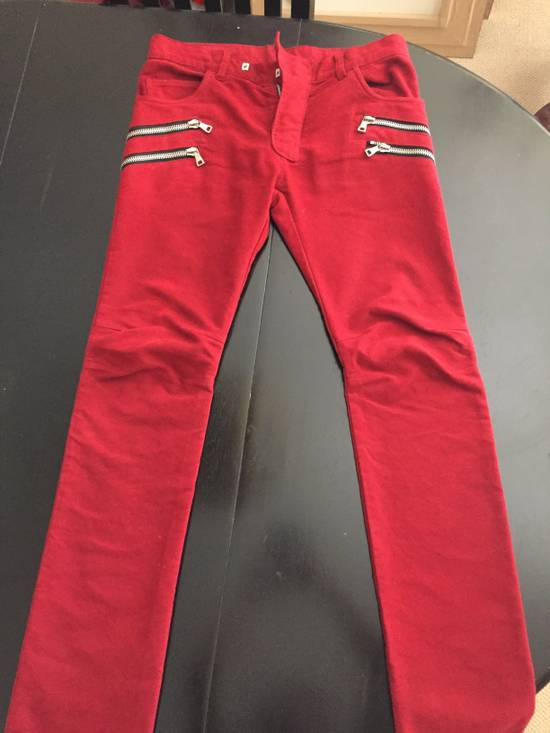 Balmain Red Double Zip Moleskin Biker Size US 29