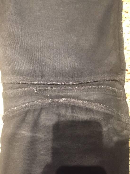Balmain Waxed Denim Goat Leather Panelled Biker Jeans Size US 35 - 5