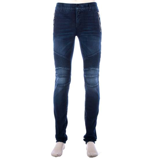 Balmain 995$ New Dark Blue Cotton Blend Biker Jeans Size US 29 - 2