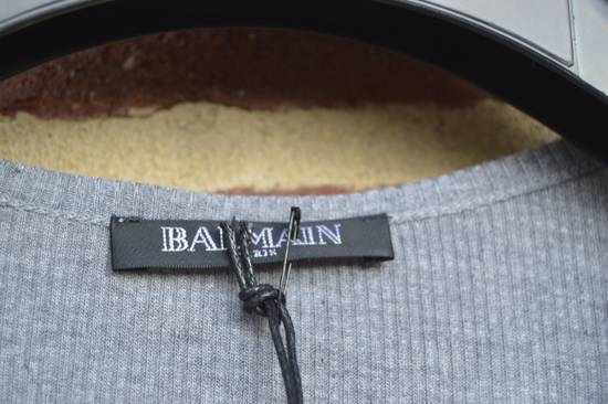 Balmain Grey Ribbed Knit T-shirt Size US M / EU 48-50 / 2 - 2