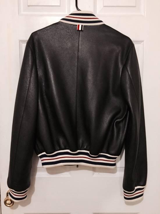 Thom Browne Black Leather Varsity Jacket (NEW W TAG) Size US XS / EU 42 / 0 - 2