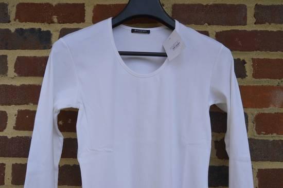 Balmain White Ribbed Long Sleeve T-shirt Size US M / EU 48-50 / 2 - 1