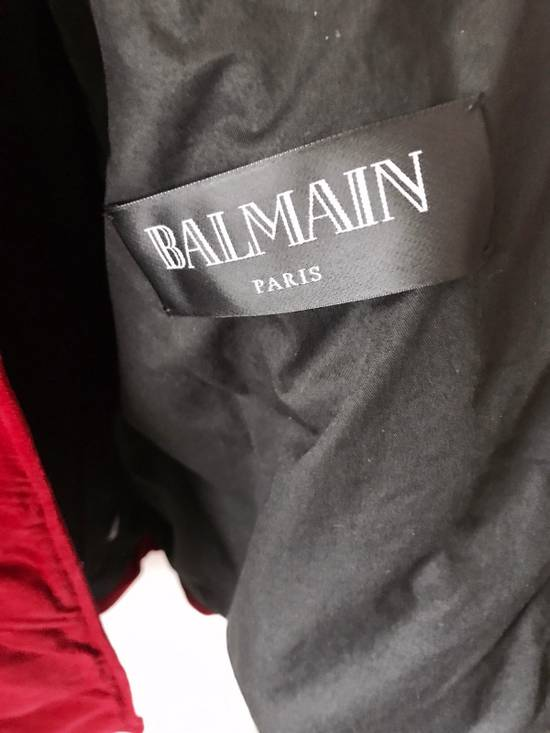 Balmain Red Velvet Biker Jacket Brand New With Tags Size US L / EU 52-54 / 3 - 4