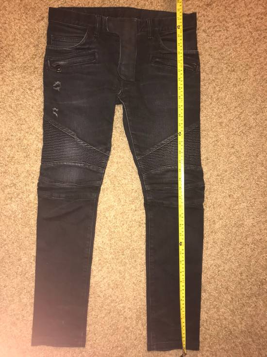 Balmain Balmain Black Cotton Denim Biker Jeans Size US 29 - 6