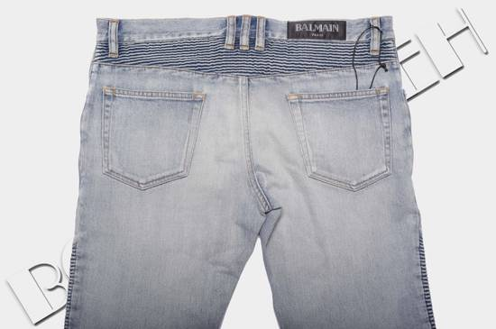 Balmain 1565$ Skinny Light Blue Distressed Biker Jeans Size US 33 - 7