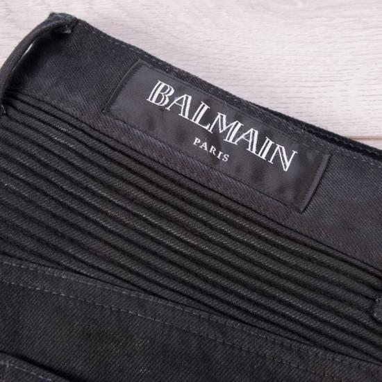 Balmain 1495$ Waxed Cargo Biker Jeans In Black Denim Size US 32 / EU 48 - 11