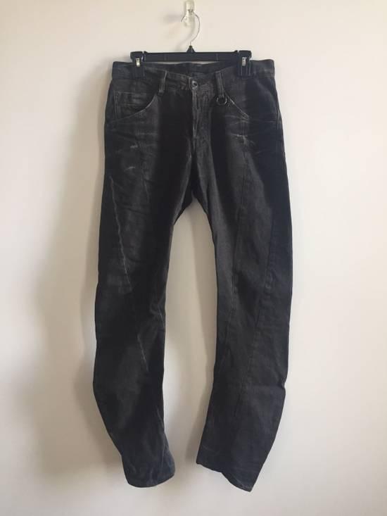 Julius FW08 Black/Brown Distressed Spiral Leg Denim Size US 31