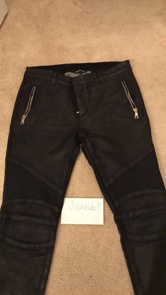 Balmain Balmain Black Waxed Biker Jeans Size US 31 - 1