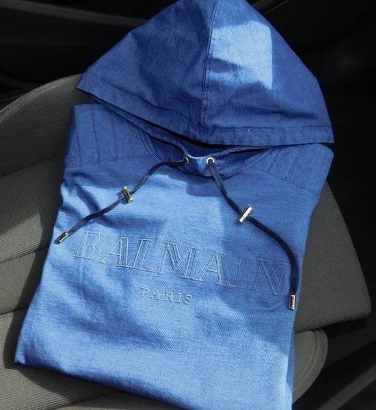Balmain New Balmain Logo Hoodie in Denim blue 100% Authentic RRP £650 Size US M / EU 48-50 / 2