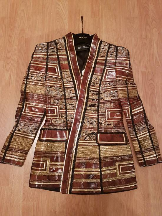 Balmain Embroidered Gold Leather Jacket Size US XS / EU 42 / 0