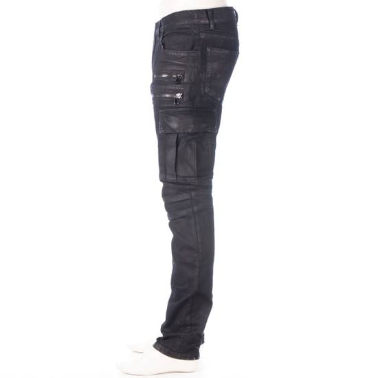 Balmain 1495$ Waxed Cargo Biker Jeans In Black Denim Size US 32 / EU 48 - 2
