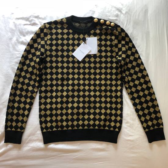 Balmain RARE RUNWAY Balmain Paris Black & Gold Wool Glitter Sweater Size US S / EU 44-46 / 1