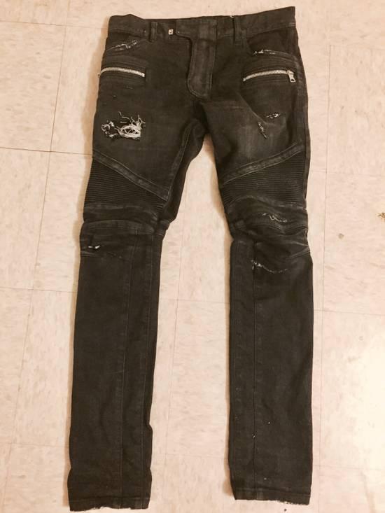Balmain Balmain Distressed Black Denim Biker Jeans Size US 30 / EU 46 - 1