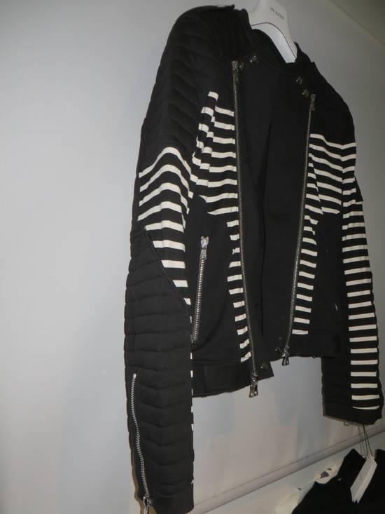 Balmain Stripped cotton biker jacket Size US XXL / EU 58 / 5 - 1