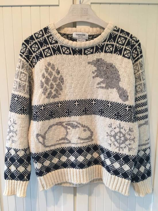 Thom Browne Donegal Icon Fair Isle Sweater in White Wool Mix Size US L / EU 52-54 / 3