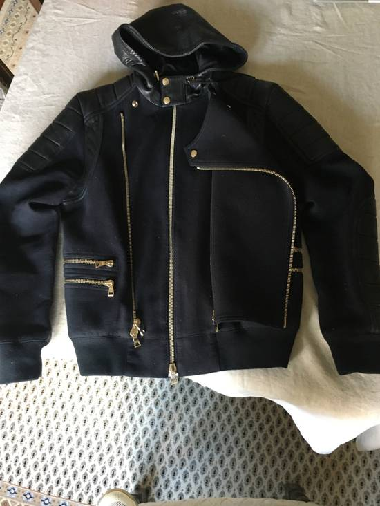 Balmain Spring Navy Bomber with Black Leather SS17 Size US L / EU 52-54 / 3 - 5