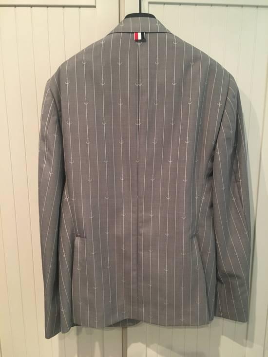 Thom Browne Sport Blazer in Grey/White Anchor Pinstripe Wool Jacquard Size US S / EU 44-46 / 1 - 6