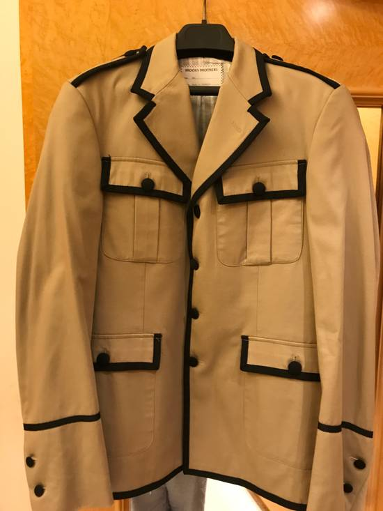 Thom Browne Beige Military Jacket with Contrast Piping Size 38R - 1