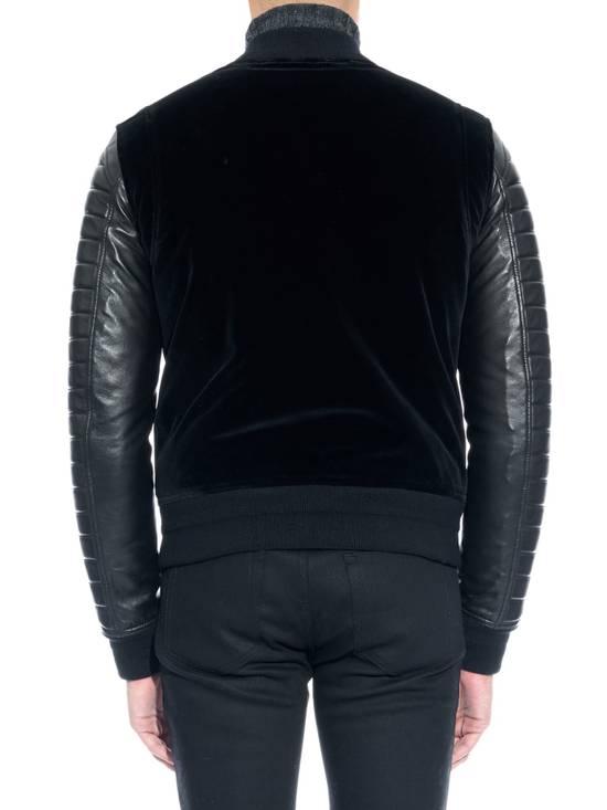 Balmain Sz 44 Black Leather Velvet Biker Bomber Varsity Teddy Jacket Size US XS / EU 42 / 0 - 1