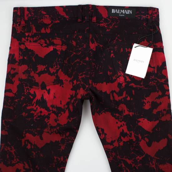Balmain Red Camouflage Denim Straight Leg Jeans Pants Size US 30 / EU 46 - 3