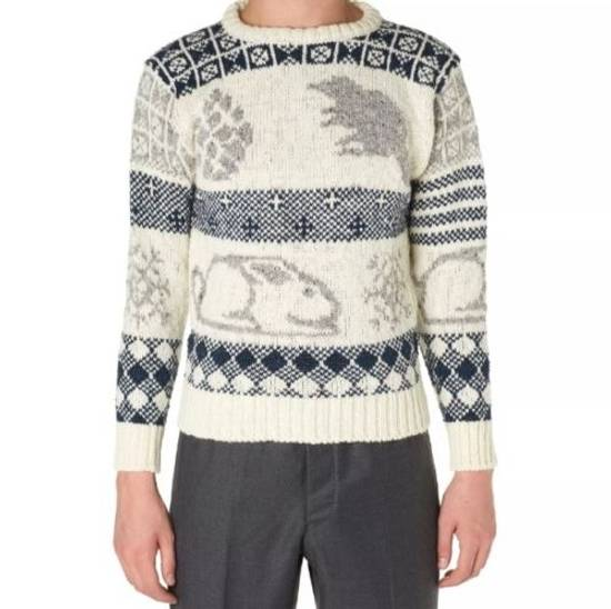 Thom Browne Donegal Icon Fair Isle Sweater in White Wool Mix Size US L / EU 52-54 / 3 - 1