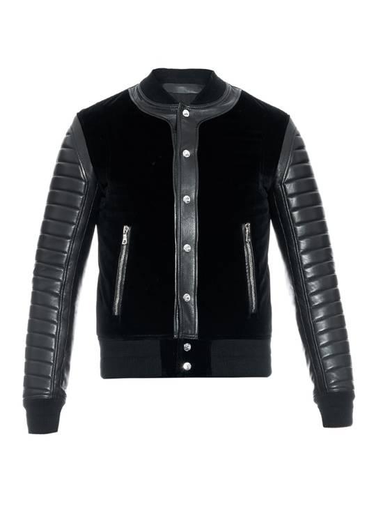 Balmain Sz 44 Black Leather Velvet Biker Bomber Varsity Teddy Jacket Size US XS / EU 42 / 0