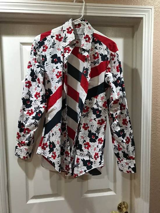 Thom Browne Striped Floral Shirt Size US M / EU 48-50 / 2 - 2