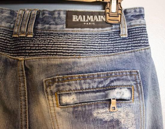 Balmain SLIM-FIT COTTON DENIM BIKER JEANS Size US 35 - 3