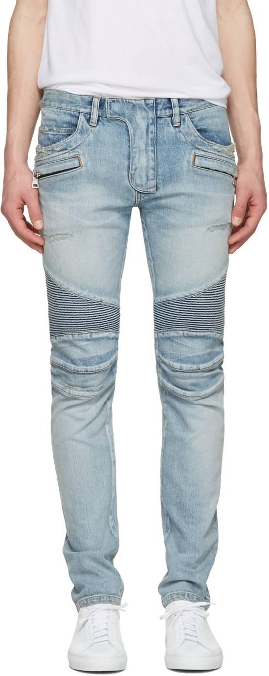 Balmain 1565$ Skinny Light Blue Distressed Biker Jeans Size US 33 - 1