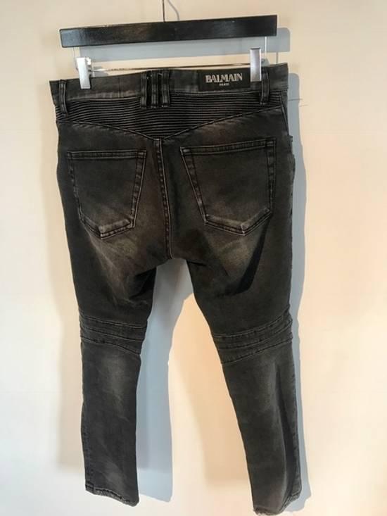 Balmain Balmain Black Distressed Knee Ripped Biker Jeans Size US 30 / EU 46 - 1