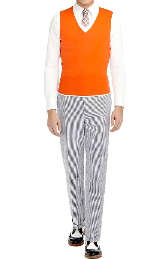 Thom Browne Coral-White Color-Block Sweater Vest NEW Size US M / EU 48-50 / 2 - 3