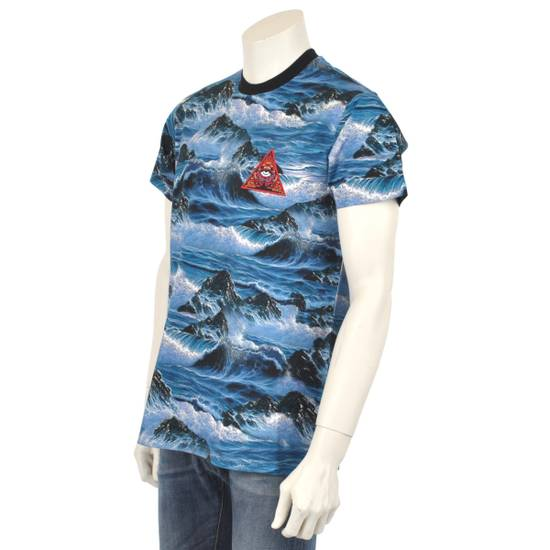 Givenchy Blue Hawaii Print Crew Neck T-Shirt With Red 'Eye of Providence' Embroidery Size US XXS / EU 40 - 5