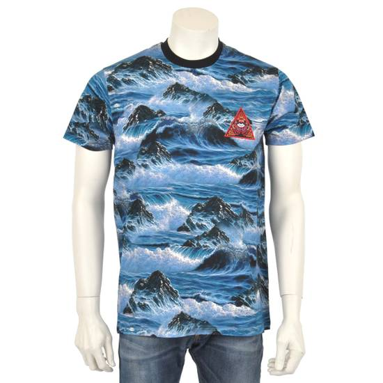 Givenchy Blue Hawaii Print Crew Neck T-Shirt With Red 'Eye of Providence' Embroidery Size US XXS / EU 40 - 2
