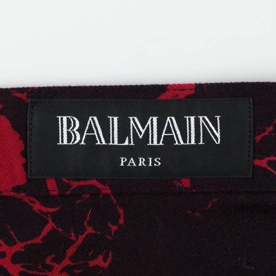 Balmain Red Camouflage Denim Straight Leg Jeans Pants Size US 30 / EU 46 - 4