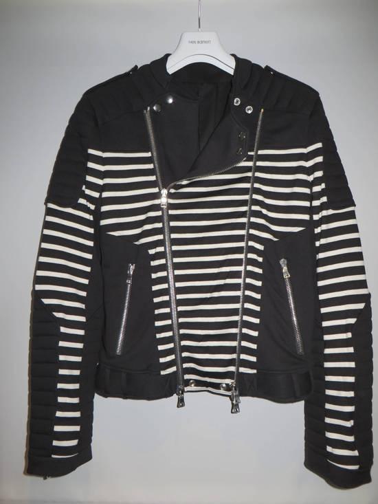 Balmain Stripped cotton biker jacket Size US XXL / EU 58 / 5