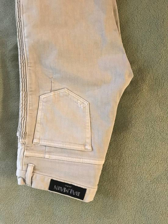 Balmain Distressed stretch-denim biker jeans Size US 31 - 1