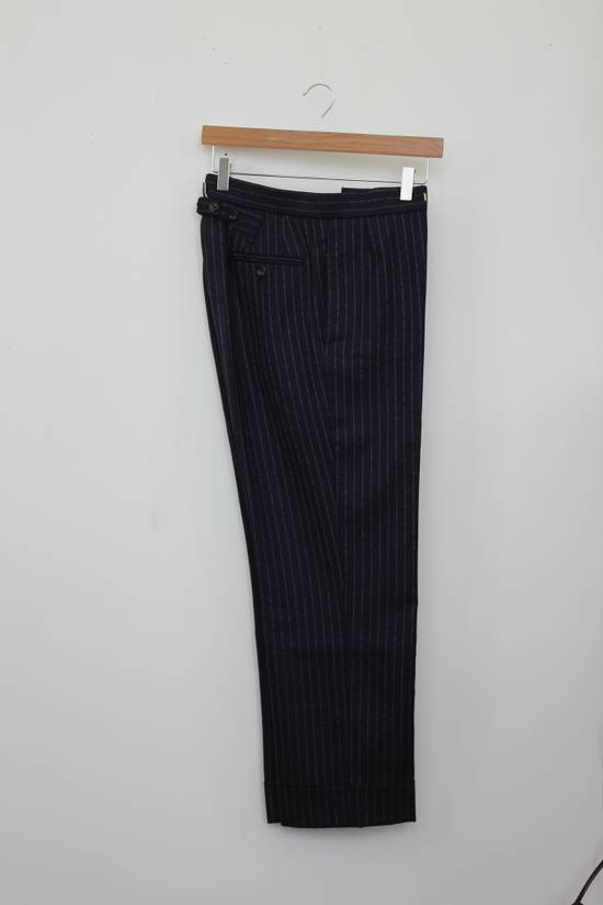 Thom Browne Classic High Waisted Navy Wool Pinstriped Pant Size 36R - 1