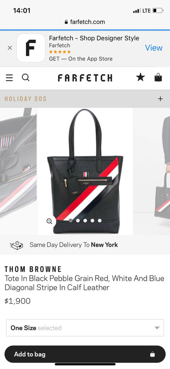 Thom Browne THOM BROWNE Tote In Black Pebble Grain Red, White And Blue Diagonal Strip Size ONE SIZE - 1