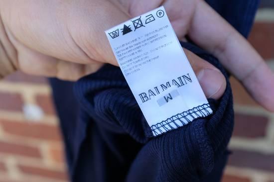 Balmain Blue Ribbed Knit T-shirt Size US M / EU 48-50 / 2 - 6