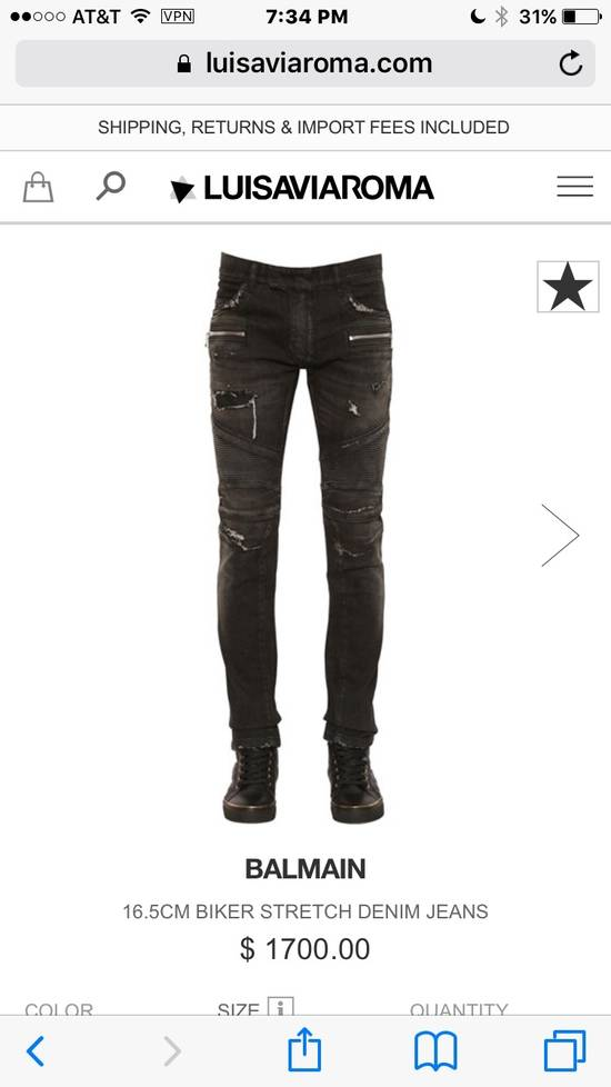 Balmain Balmain Distressed Black Denim Biker Jeans Size US 30 / EU 46