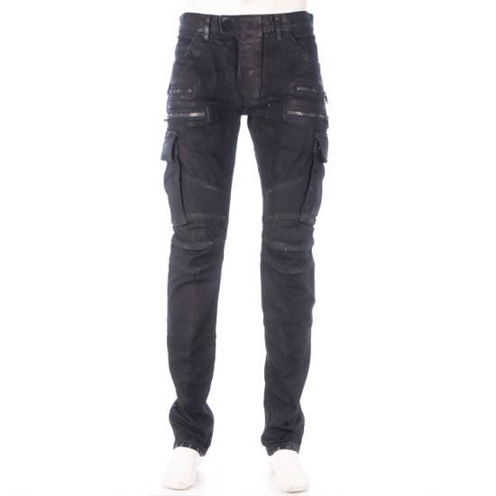 Balmain 1495$ Waxed Cargo Biker Jeans In Black Denim Size US 32 / EU 48