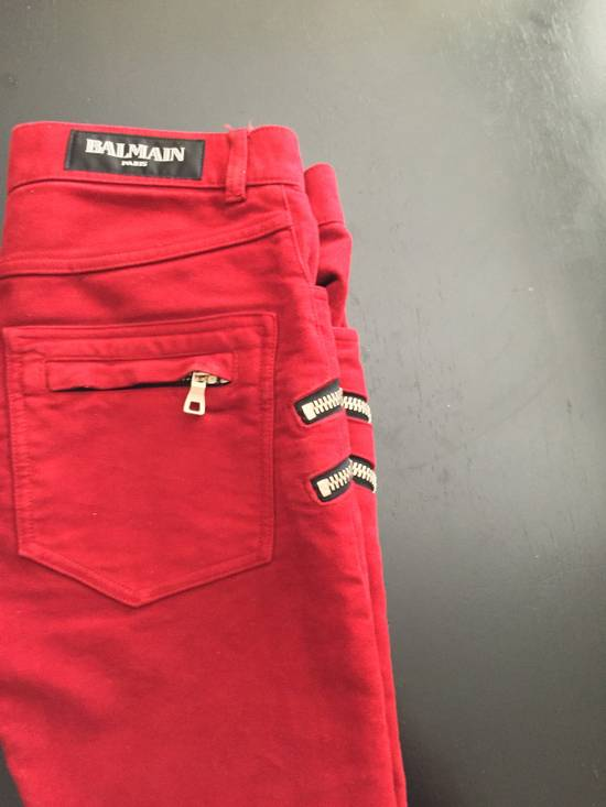 Balmain Red Double Zip Moleskin Biker Size US 29 - 1